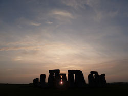 Summer solstice sunset through Stonehenge.